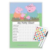 PEPPA PIG POTTY TOILET TRAINING reward Chart + Pen & Free Star Stickers - PG9S
