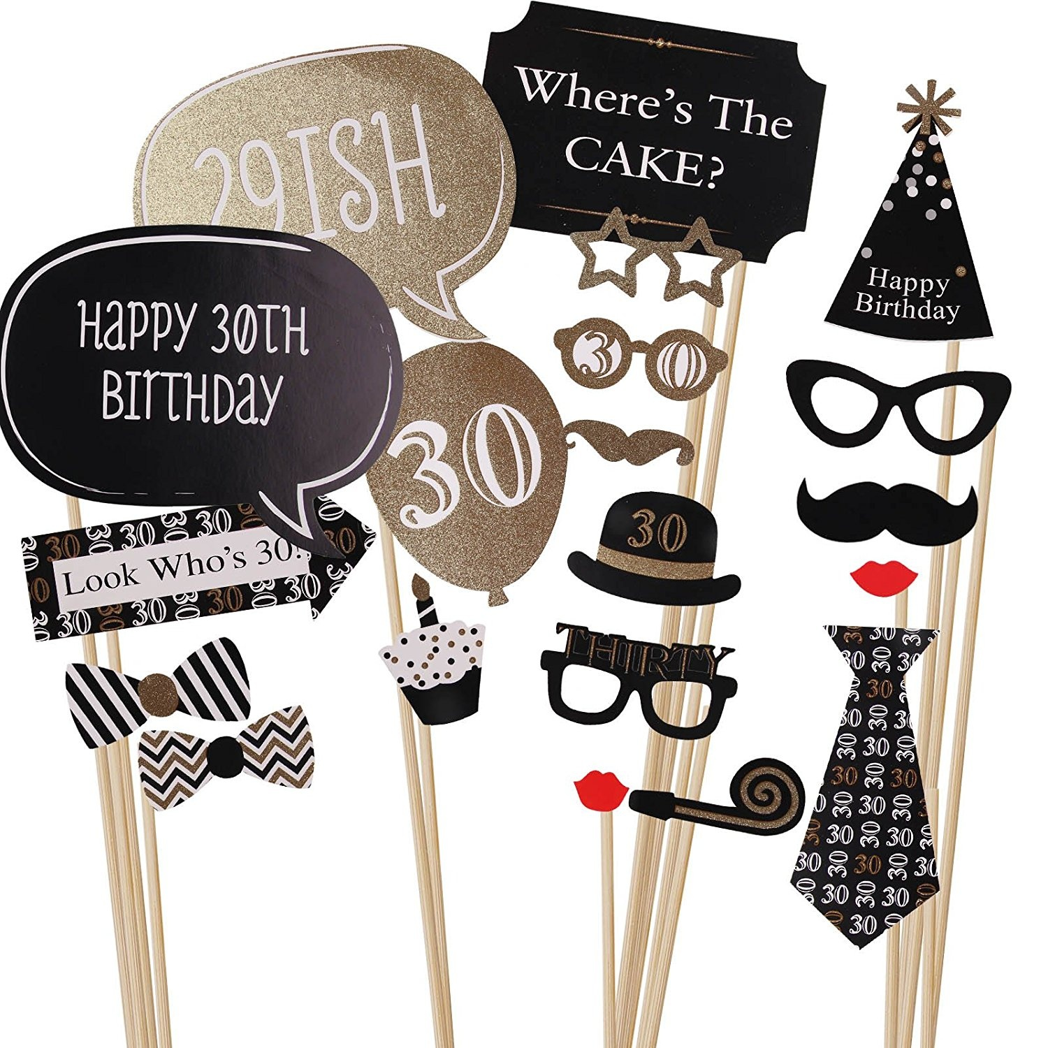 MultiWare 20pcs 30th Birthday Black Gold Party Photo Booth