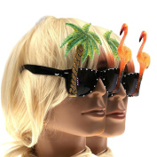 Pizies 2 Pairs Flamingo and Palm tree Sunglasses for hawaiian tropical Party