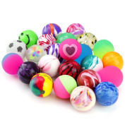 Biging 24 Pieces Jet Bouncy Balls 25mm Mixed Colour Party Bag Filler for Children