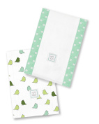 SwaddleDesigns Baby Burpies, Set of 2 Cotton Burp Cloths, SeaCrystal Little Chickies