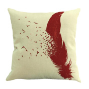 Usstore Pillow Feather Printing Throw bedroom Home Decor Cushion Cover