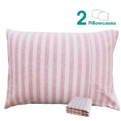 NTBAY 100% Organic Cotton Toddler Pillowcases Set of 2, Soft and Breathable, 33cm x 46cm , Pink