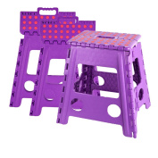 Livebest 38cm Folding Step Stool with Carrying Handle for Kids and Adults,Kitchen and Garden,Hold up to 140kg