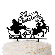 Merry Christmas Cake Topper Acrylic Party Decoration, Holiday Santa and Reindeer
