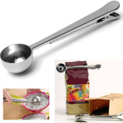 Silver Spoon Stainless Steel Ground Coffee Measuring Spoon Scoop With Bag Sealing Clip Coffee Spoon