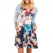 Women's Dress Neartime Floral Printing O Collar Pocket Long Sleeve Mini Party Dress