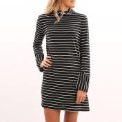 Women's Dress Neartime Casual Stripe O Collar Long Sleeve Mini Party Dress