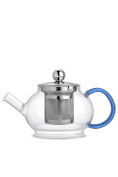 Clear Glass Tea Pot With Steel Infuser Strainer Teapot Teaware Kitchenware Blue