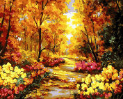 LB DIY Acrylic Painting by Numbers Kits for Adults and Kids, 41cm by 50cm Pre Printed Canvas, no Frame, Autumn Fall into Golden Yellow Trees
