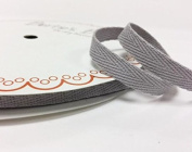 Silver Cotton Herringbone 10mm tape/webbing by Bertie's Bows on a 25m Roll