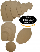 TWO PACK - Paper Flower Template Kit - FREE LEAF TEMPLATE - Paper Flowers Decorations For Wall - Make Unlimited Flowers - DIY Do It Yourself - Make All Sizes (2- Pack