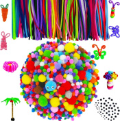 Comfun 1460 Pieces Pipe Cleaners Pom Poms Set, Including 1300 Pcs Pompoms, 100 Pcs 20 Colours Chenille Stems and 60 Pcs 4 Size Wiggle Googly Eyes for Craft DIY Art Supplies