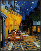 Cafe Terrace at Night - DIY Chart Counted Cross Stitch Pattern Designed for DMC Floss Needlework for embroidery