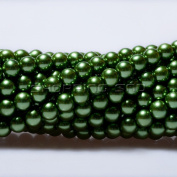 100pcs Top Quality Czech Glass Pearl Round Beads 3mm Dark Olivine colour