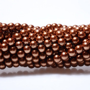 100pcs Top Quality Czech Glass Pearl Round Beads 3mm Copper Brown colour