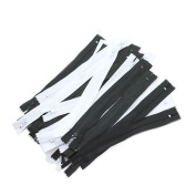 HUELE 23cm Nylon Coil Zippers Bulk for Sewing Crafts -- White and Black , 100Pcs