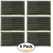 6 Pack- American Flag Embroidered Patches Olive Green, Tactical Subdued Antique look USA United States of America, Sew on