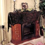 Black Spider Fireplace Mantel Scarf Halloween Decorations for Home Horror Halloween Decoration Party Supplies