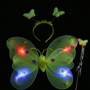 HP95(TM) 3pcs/Set Girls Led Flashing Light Fairy Butterfly Wing Wand Headband Costume Toys