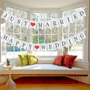 "Ozzptuu 2-in-1 ""JUST MARRIED"" & ""HAPPY WEDDING"" Swallowtail Shaped Banners Pack Letters Banners Wedding Signs Party Decorations"