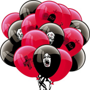 PAPERJAZZ Halloween Black and Red Latex Balloons for Zombie Halloween Party Decoration 16pcs