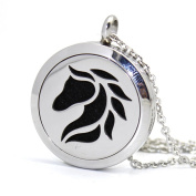 Stainless Steel Animal Beast Horse Aromatherapy Essential Oil Diffuser Amulet Necklace Carving Locket Pendant,10 Felt Pads
