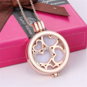 Vintage Heart Love Crystal Aromatherapy Essential Oil Diffuser Necklace Rhinestone Rose Gold Locket Pendant,3 Colourful Pads