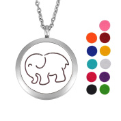 Elephant Essential Oil Diffuser Necklace Stainless Steel Locket Pendant with 60cm Chain 11 Refill Pads