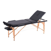 3-Fold Portable Folding Massage Table Bed Adjustable Salon Spa Therapy Bed Wood Legs With Carrying Bag