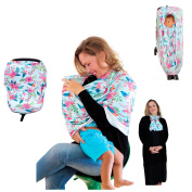 Carseat Canopy - Multi Use Nursing Cover for Breastfeeding, Baby Car Seat, Shopping Cart, Stroller Covers, Stretchy Material Easy to Use and Germ Protect for Baby Boys and Girls