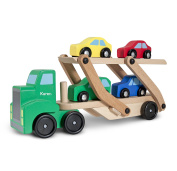 Melissa & Doug Personalised Car Carrier Wooden Toy Set with 1 Truck & 4 Cars Vehicle