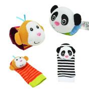 FairySu Baby Rattle, 4PCS Baby Wrist Rattle and Foot Rattles Finder Socks Set, Developmental Soft Animal Rattles Infant Baby Toys - Monkey and Panda