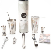 Premium 10 Piece Stainless Steel Professional Boston Cocktail Shaker Mixologist Bartender Barware Set for Alcoholic Drink Making with Gift Box and BONUS Booklet with 10 Cocktail Recipes