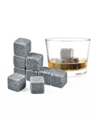 Whiskey Stones - Set of 9 Pure Soapstone Beverage Chilling Rocks by CharaVector - Keeps Your Drink Ice Cold and No Water Dilution for Whiskey, Bourbon, Wine or Other Spirits