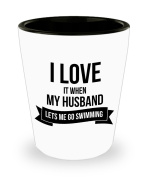 Best Shot Glass Coffee Mug- Swimming Gifts Ideas for Men and Women. I love it when my husband lets me go swimming.