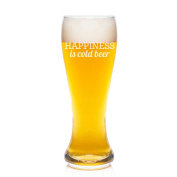 Happiness Is Cold Beer Engraved 590ml Beer Pilsner Glass