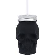 Skull Shaped Matte Black Glass Mason Jar Sipper w/Straw-Lid 470ml…
