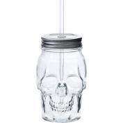 Skull Shaped Translucent Glass Mason Jar Sipper w/Straw-Lid 470ml…