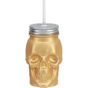 Skull Shaped Gold Metallic Finish Glass Mason Jar Sipper w/Straw-Lid 470ml…