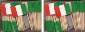2 Boxes of Mini Italy Toothpick Flags, 200 Small Italian Flag Toothpicks or Cocktail Sticks & Picks