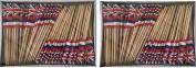 2 Boxes of Mini Haiti Toothpick Flags, 200 Small Haitian Flag Toothpicks or Cocktail Sticks & Picks