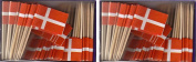 2 Boxes of Mini Denmark Toothpick Flags, 200 Small Danish Flag Toothpicks or Cocktail Sticks & Picks