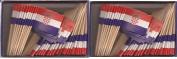2 Boxes of Mini Croatia Toothpick Flags, 200 Small Croatian Flag Toothpicks or Cocktail Sticks & Picks