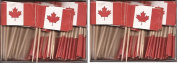 2 Boxes of Mini Canada Toothpick Flags, 200 Small Canadian Flag Toothpicks or Cocktail Sticks & Picks