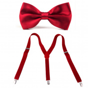 HDE Men's Pre-Tied Adjustable Bow Tie with Y-Back Clip Suspenders for Tux Wedding Prom Formal