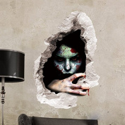 """CQI 3D Female Ghost Breaking Wall Halloween Decoration 60cm ×18"""" Removable Home Decal Vinyl Wall Sticker Art Decor"""