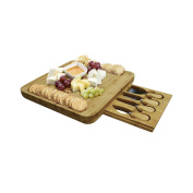 Plater Natural Bamboo Cheese Board Set with Knives & Forks & Slide-Out Drawer