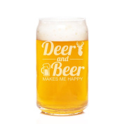 Deer and Beer Makes Me Happy Engraved Can Glass - 4pcs