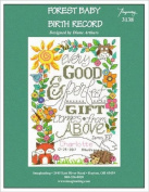 Forest Baby Birth Record Cross Stitch Chart and Free Embellishment